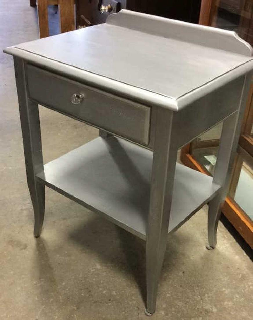 2 Silver painted Wood Vintage Tables One single drawer - 5
