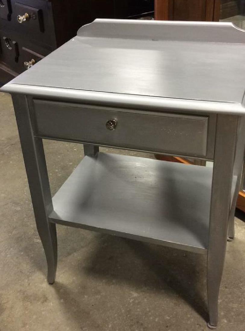 2 Silver painted Wood Vintage Tables One single drawer - 6