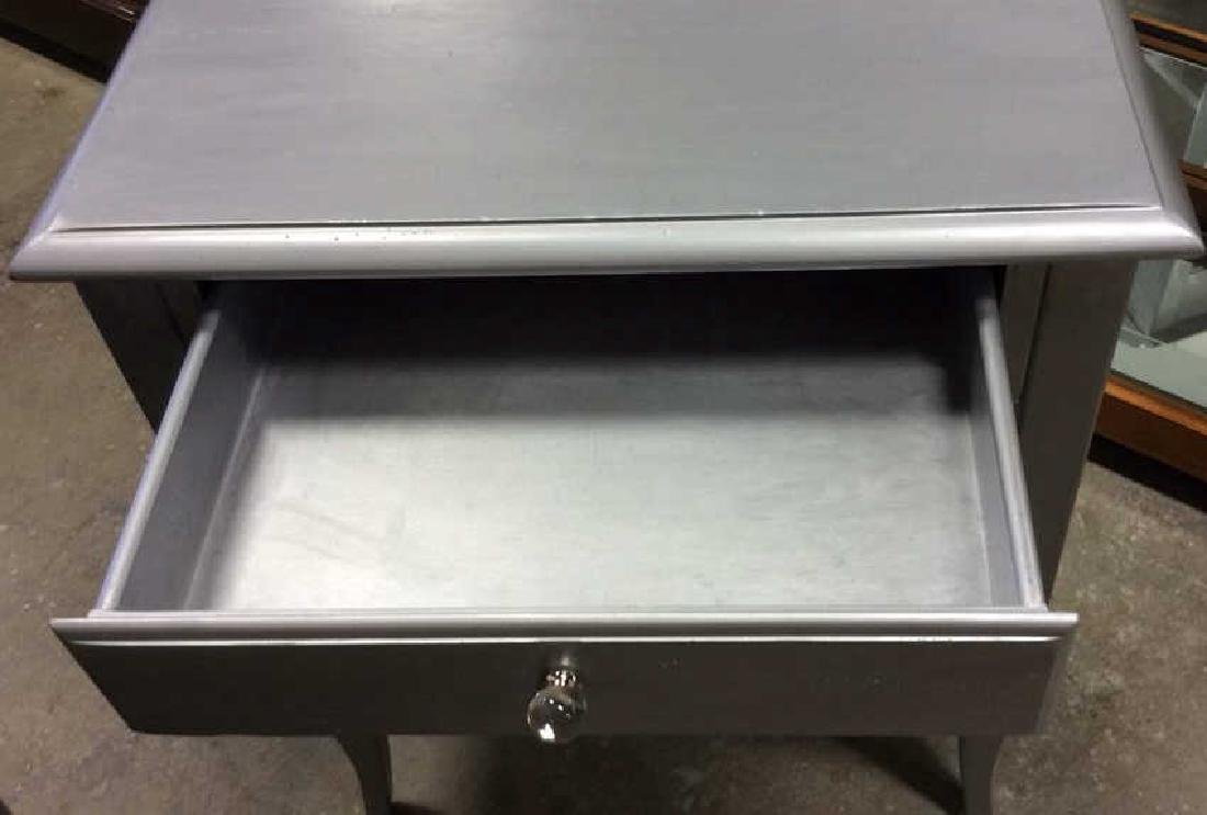 2 Silver painted Wood Vintage Tables One single drawer - 8