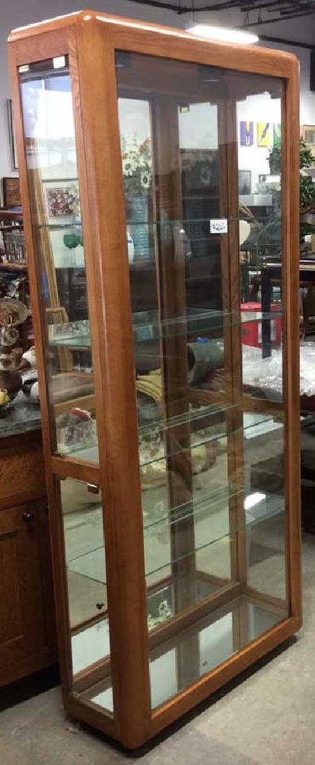 Wood Glass Mirror Lightd Display Case Display case,