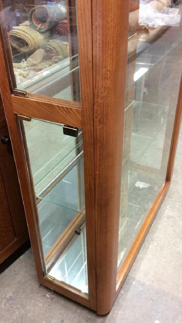 Wood Glass Mirror Lightd Display Case Display case, - 3