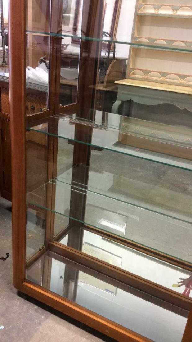 Wood Glass Mirror Lightd Display Case Display case, - 5