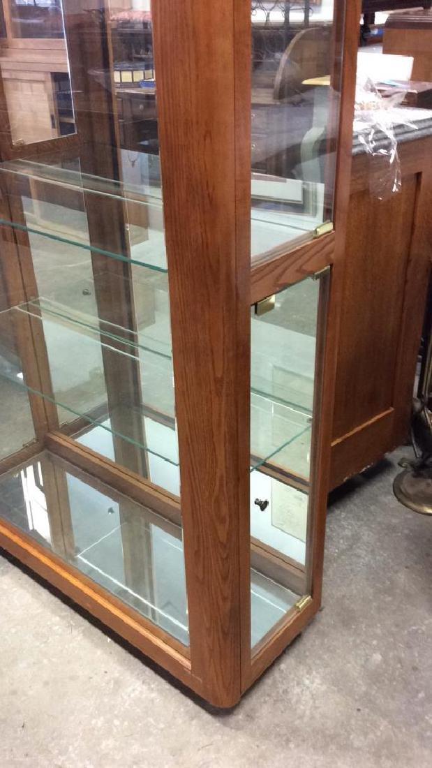 Wood Glass Mirror Lightd Display Case Display case, - 6
