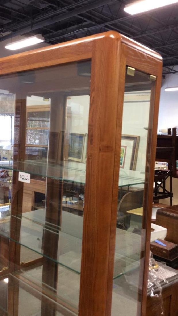 Wood Glass Mirror Lightd Display Case Display case, - 7