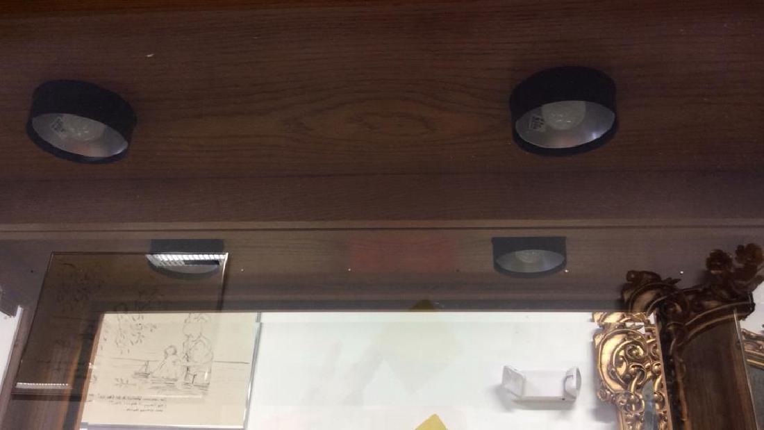 Wood Glass Mirror Lightd Display Case Display case, - 8