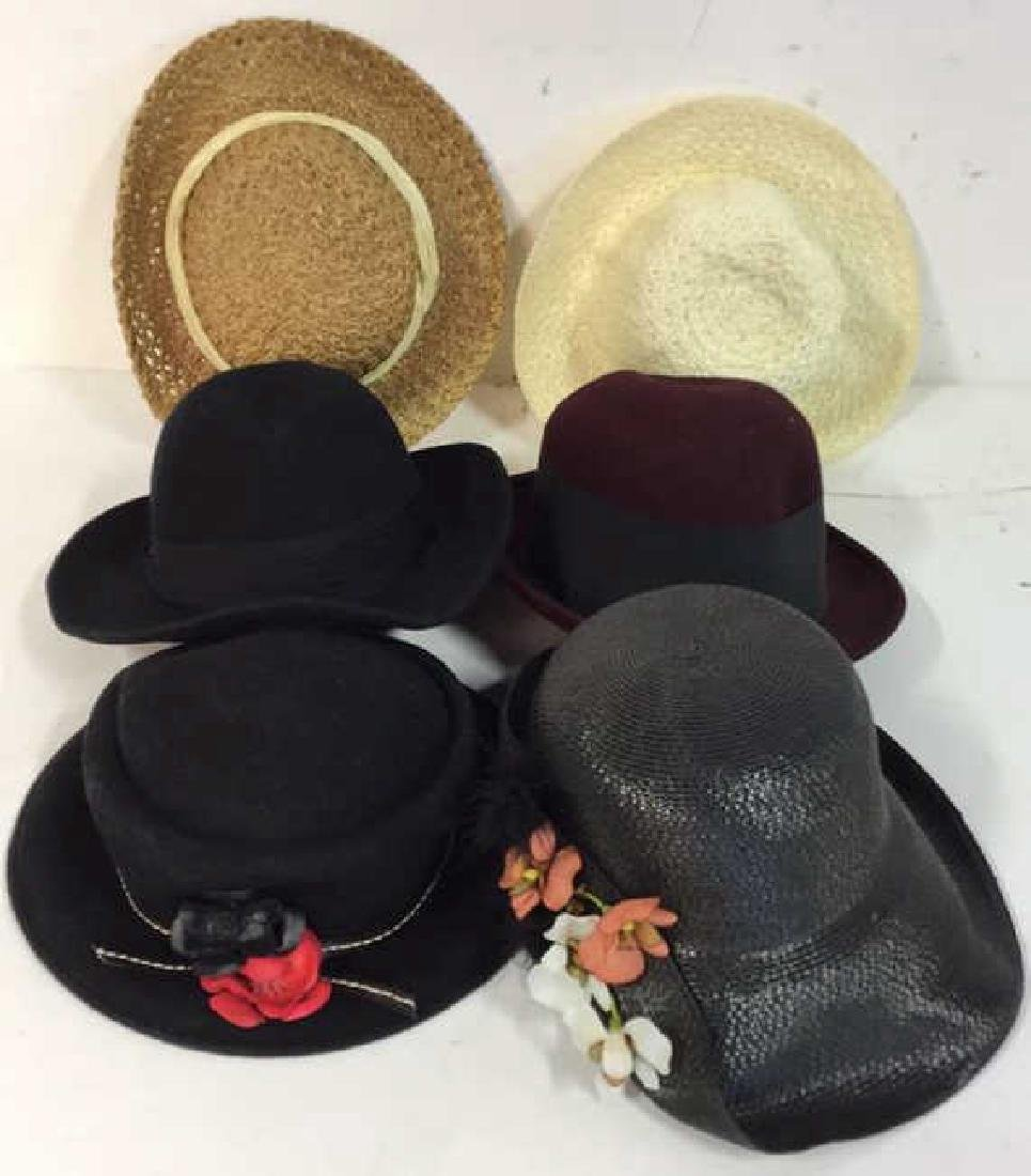 6 Assorted Ladies Hats Assortment of six wool and straw