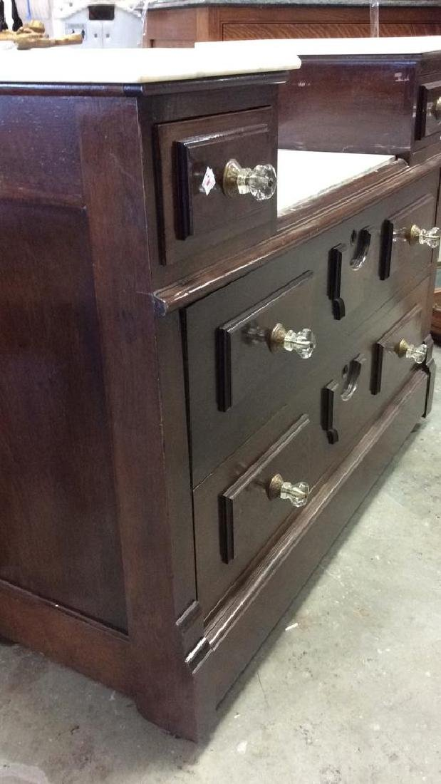 Marble Topped Antique Mahogany Dresser Dresser with - 2