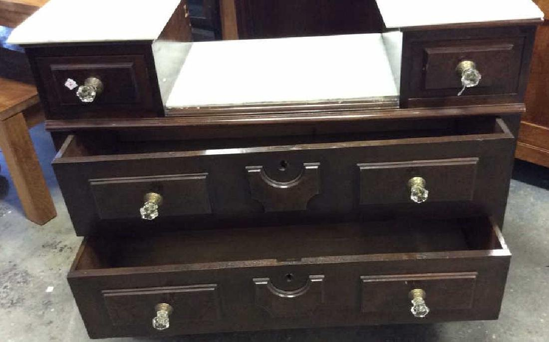 Marble Topped Antique Mahogany Dresser Dresser with - 7