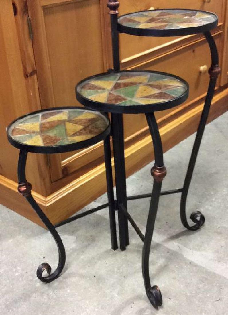 3 Tier Metal Glass Mosaic Plant Stand Plant Stand or
