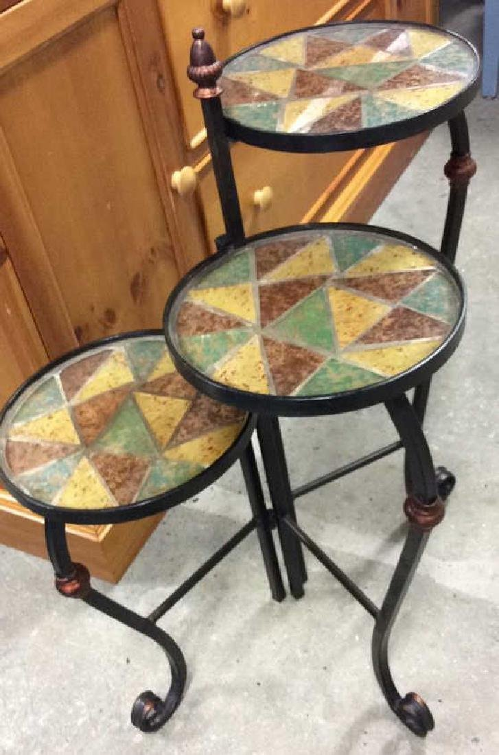 3 Tier Metal Glass Mosaic Plant Stand Plant Stand or - 2