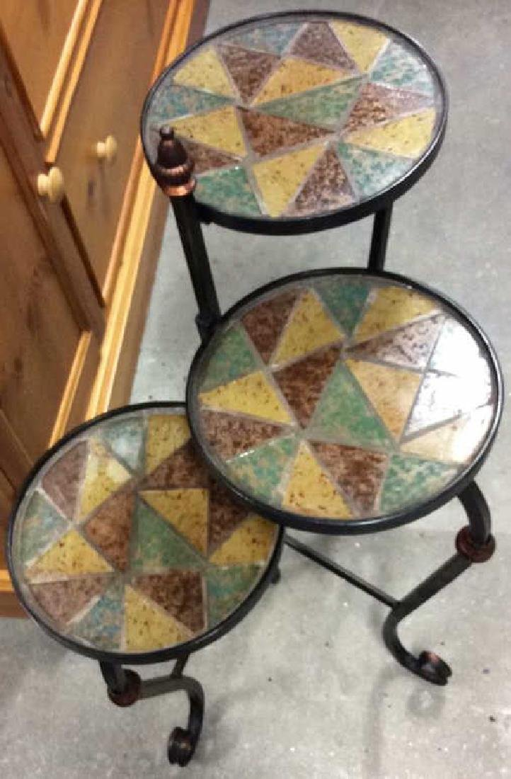 3 Tier Metal Glass Mosaic Plant Stand Plant Stand or - 6