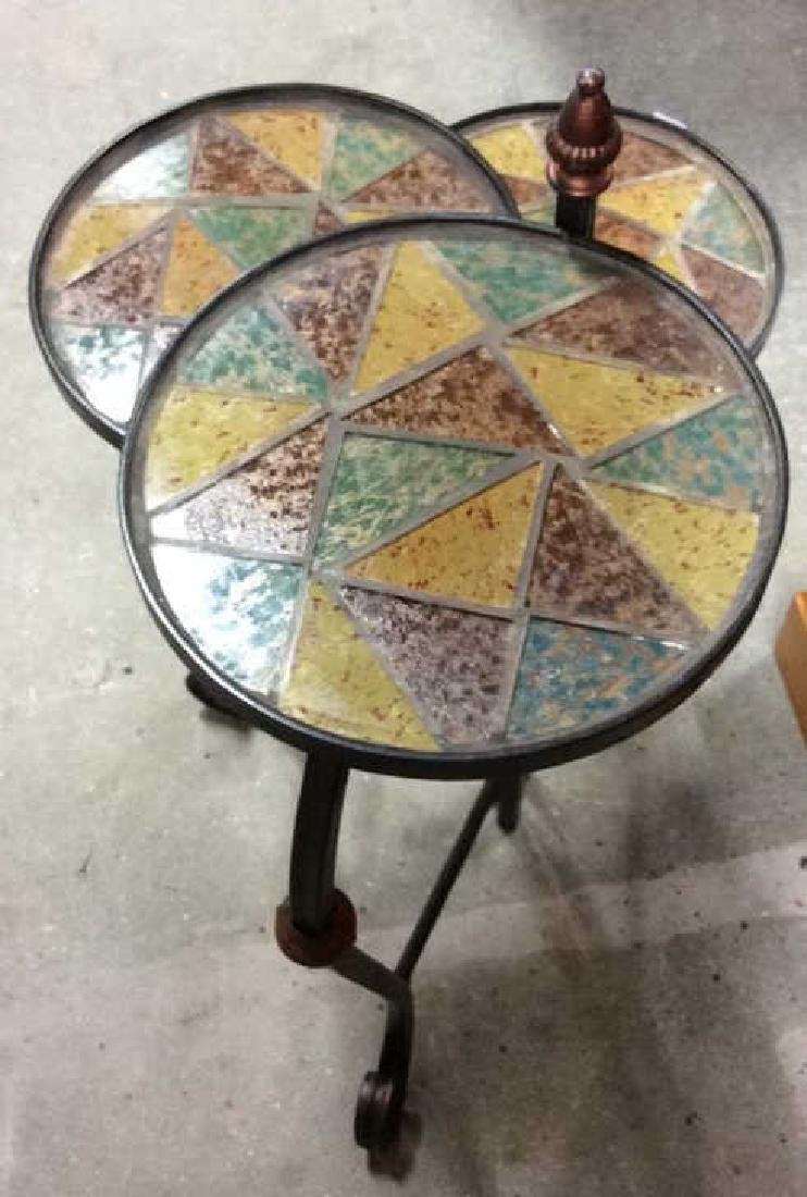 3 Tier Metal Glass Mosaic Plant Stand Plant Stand or - 7