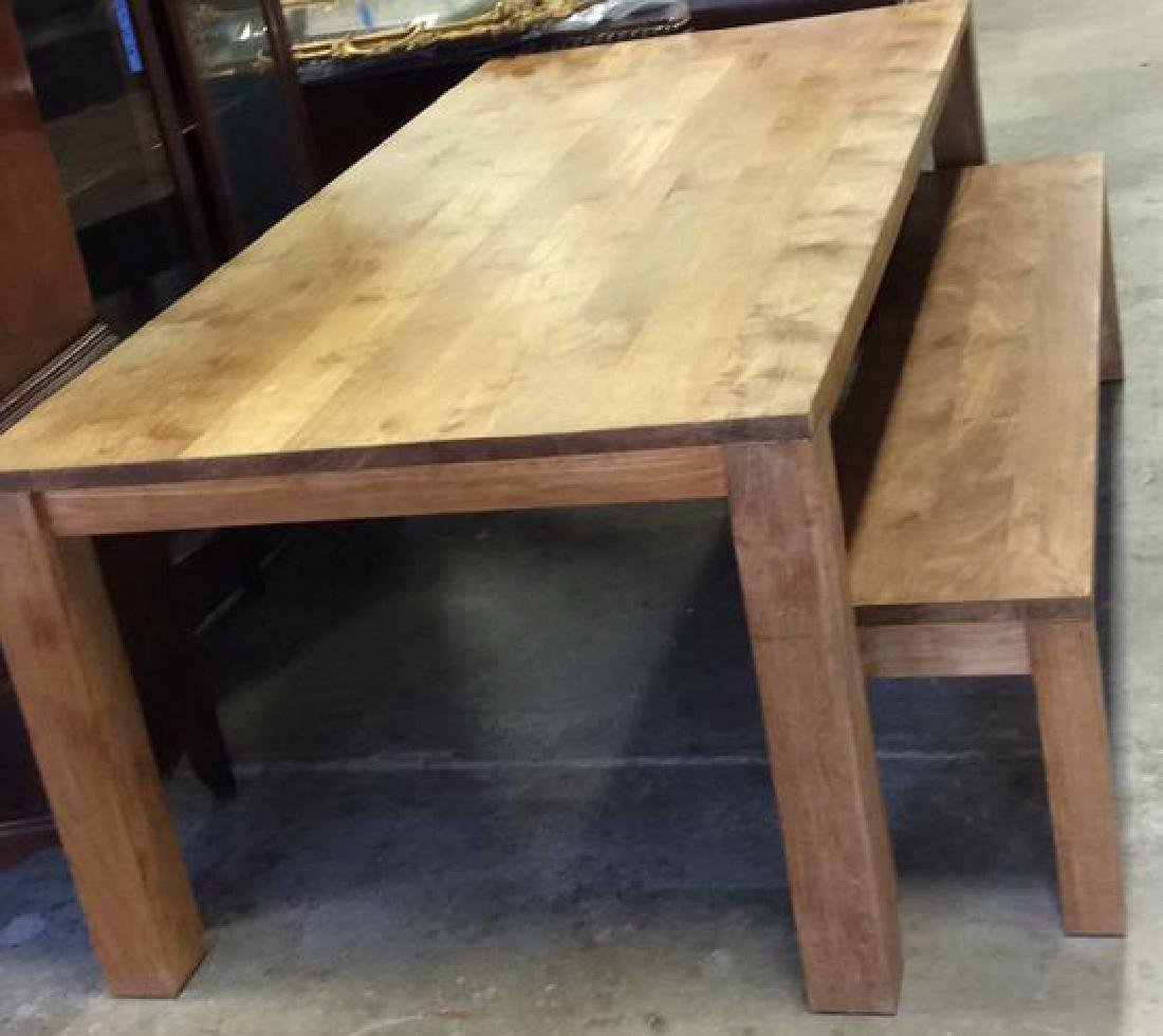 Like New Hearty Butcher Block Dining Table and Bench