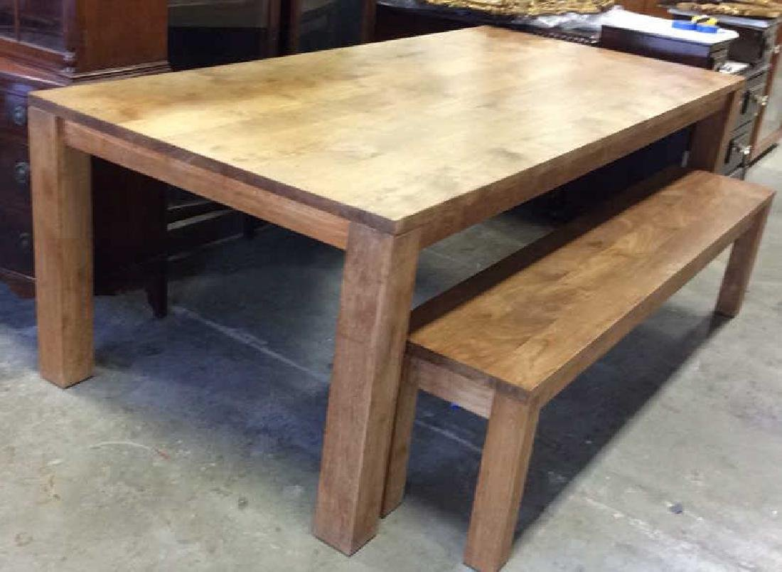 Like New Hearty Butcher Block Dining Table and Bench - 2