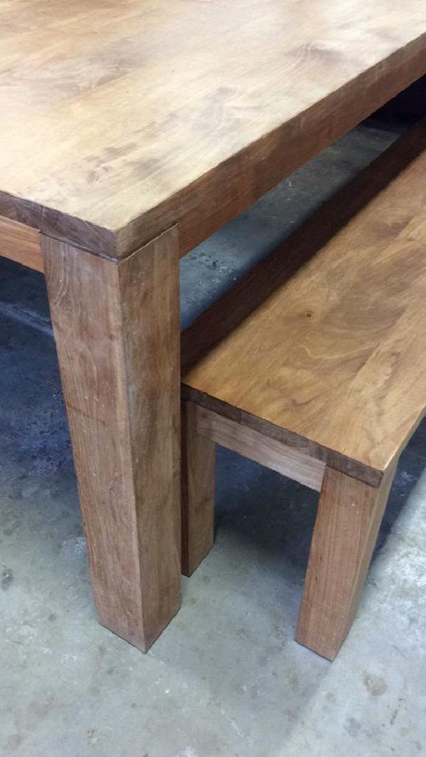 Like New Hearty Butcher Block Dining Table and Bench - 3
