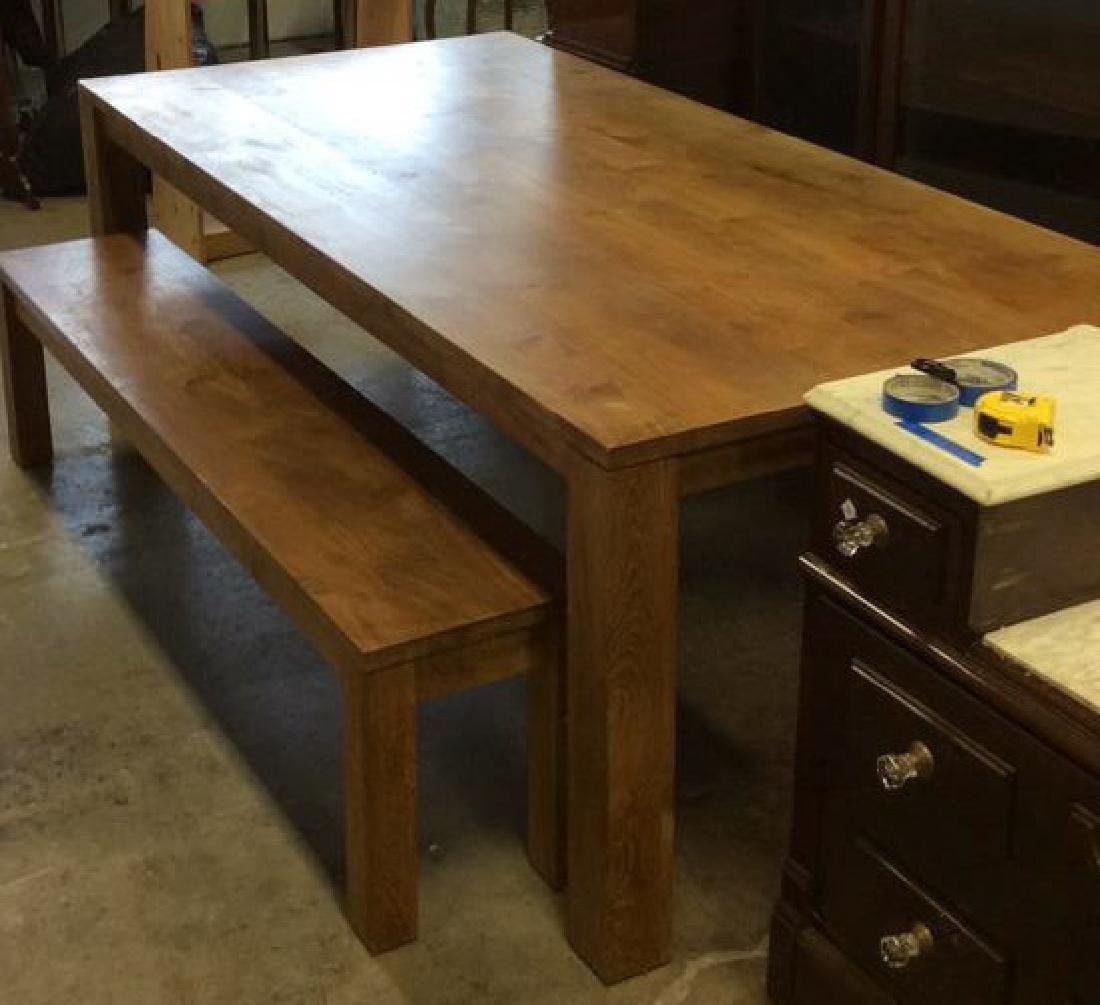 Like New Hearty Butcher Block Dining Table and Bench - 5