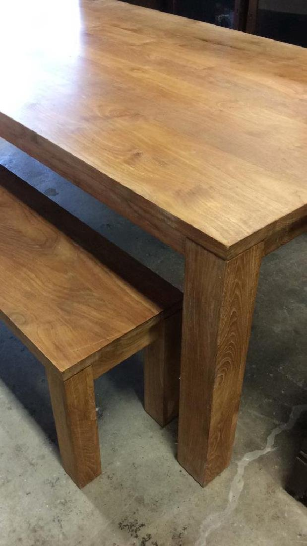 Like New Hearty Butcher Block Dining Table and Bench - 6
