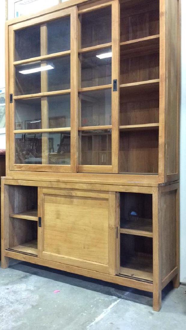 Natural )Modern Wood Glass Cabinet Natural Matte - 10