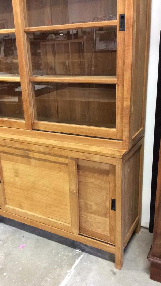 Natural )Modern Wood Glass Cabinet Natural Matte - 6
