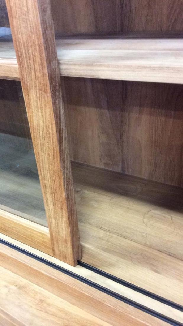Natural )Modern Wood Glass Cabinet Natural Matte - 8