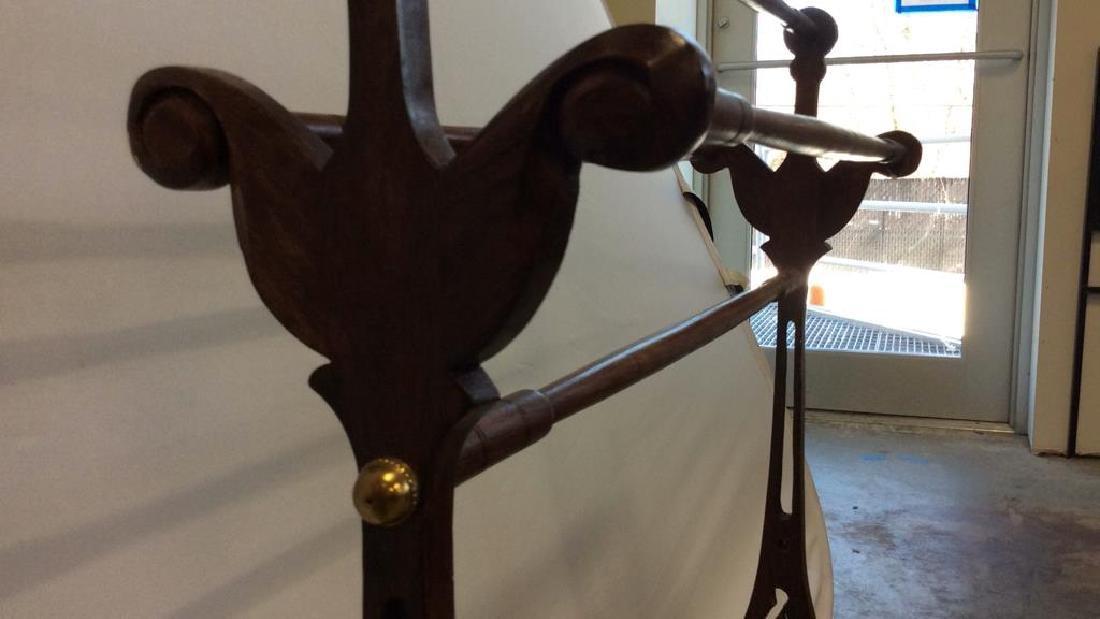 Carved Antique Quilt Rack Open carving on sides splayed - 5