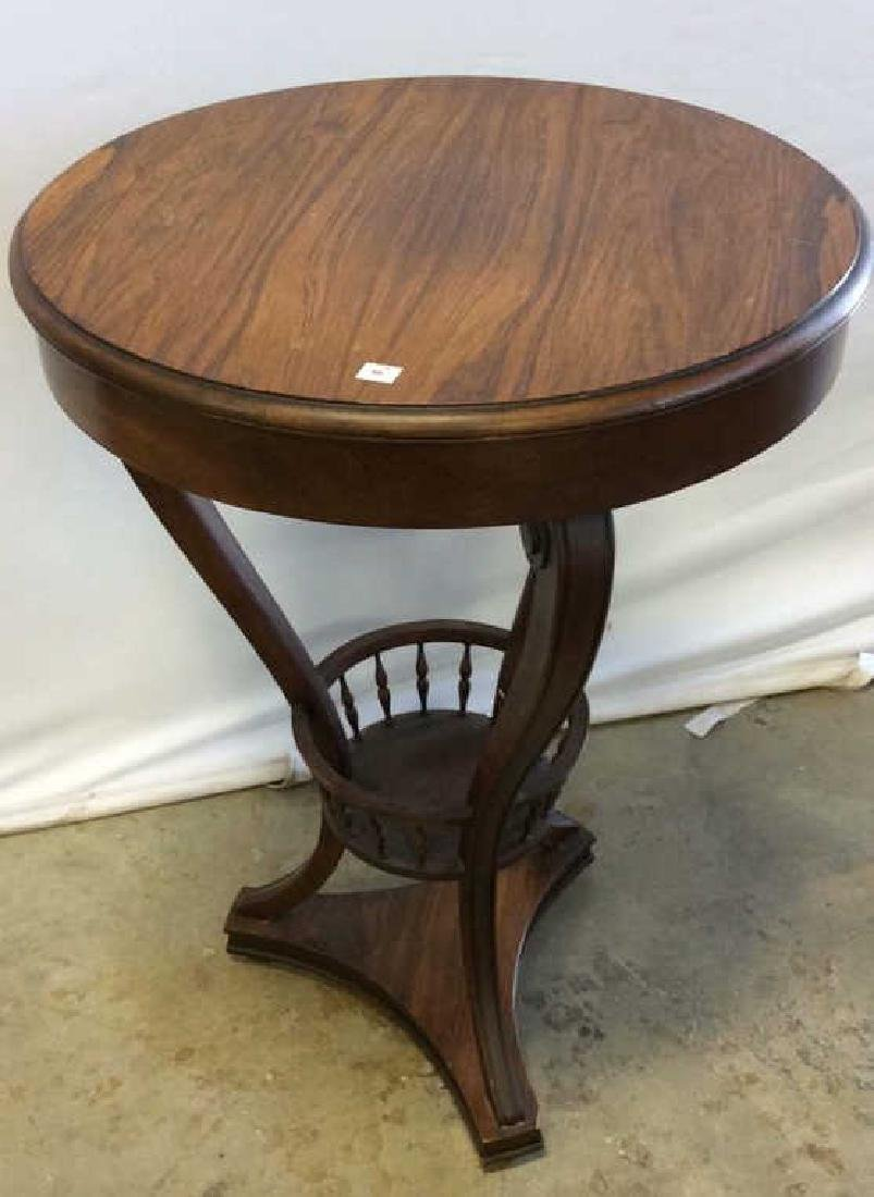 Wood and Basket Form End Table Circular wood end table