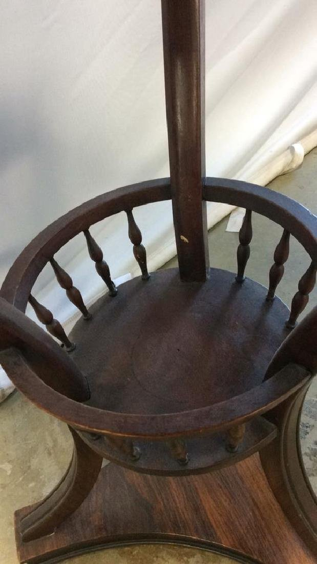 Wood and Basket Form End Table Circular wood end table - 5