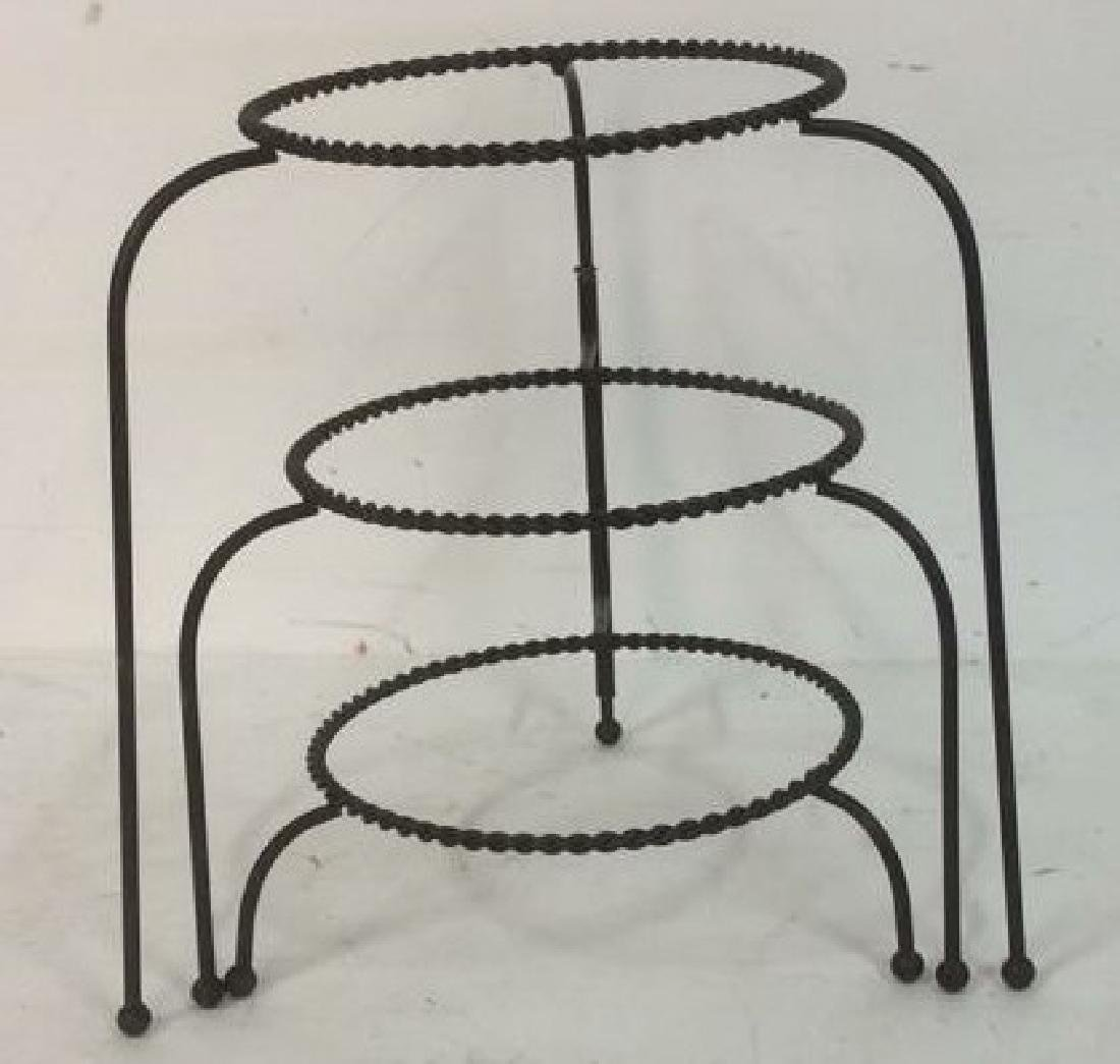 Group Metal Garden Plant Stand Candle Holders Lot of 3. - 6