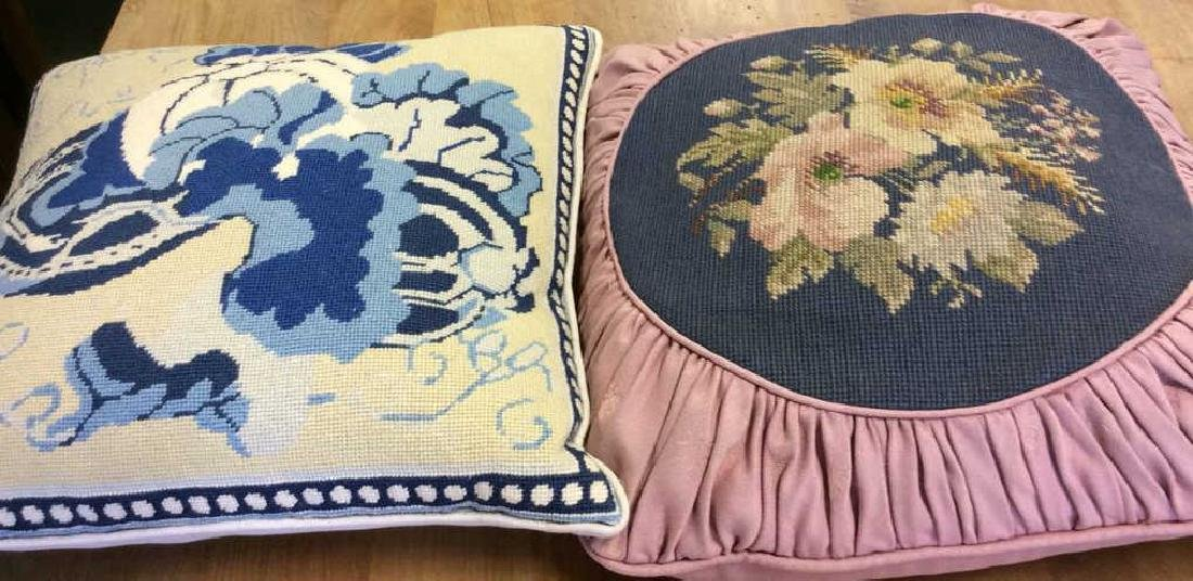 2 Needle Point Pillows One blue and white floral