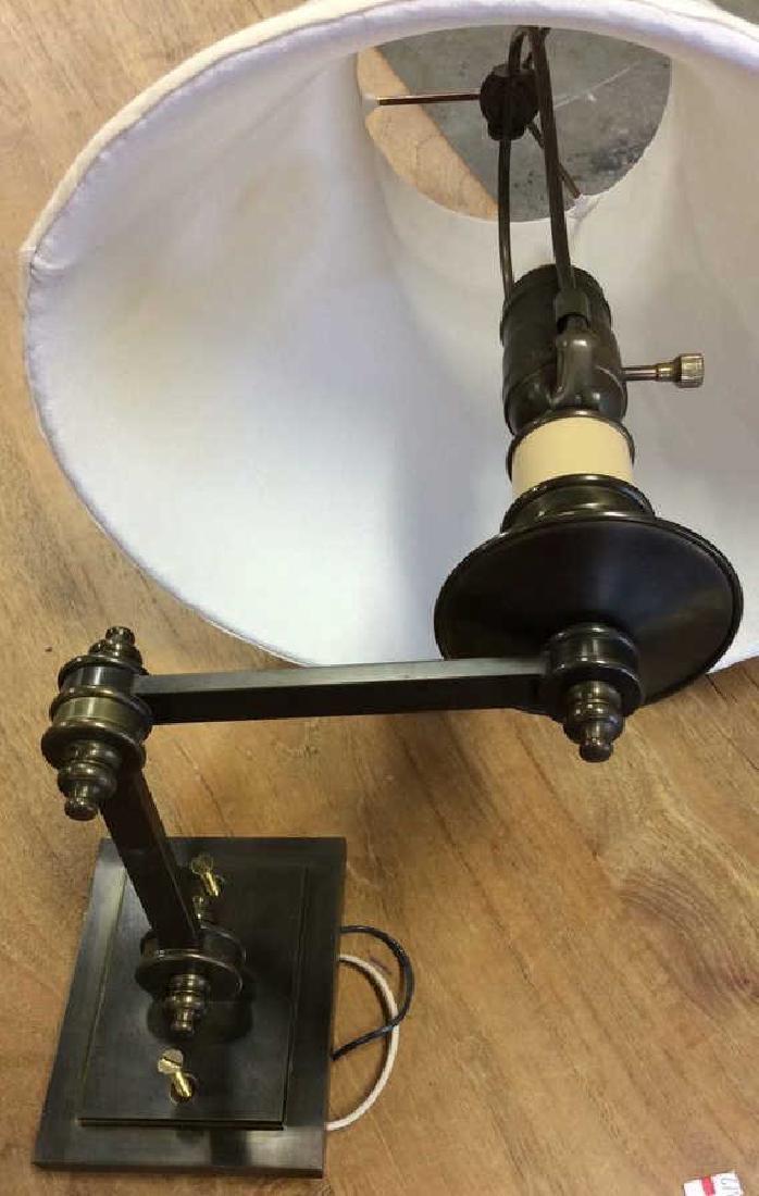 Pair Antiqued Brass Swing Arm Sconces Pair of swing arm - 3