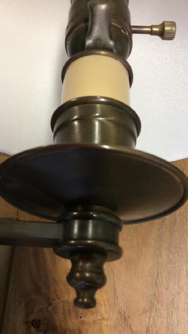 Pair Antiqued Brass Swing Arm Sconces Pair of swing arm - 5