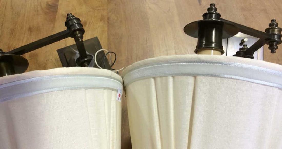 Pair Antiqued Brass Swing Arm Sconces Pair of swing arm - 7