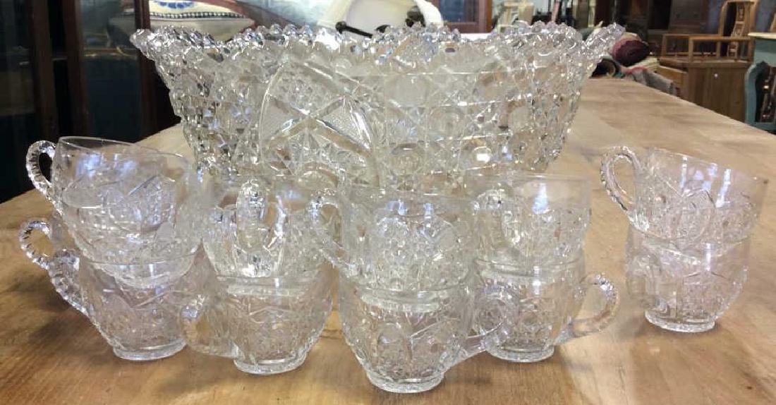 Vintage Cut Glass Punch Bowl Set Large cut glass punch