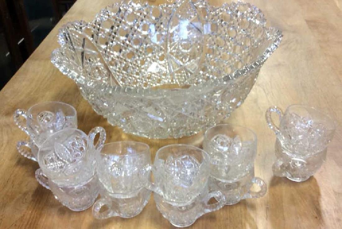 Vintage Cut Glass Punch Bowl Set Large cut glass punch - 2