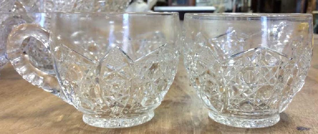 Vintage Cut Glass Punch Bowl Set Large cut glass punch - 4