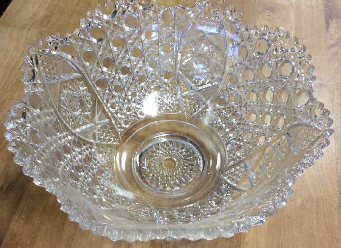 Vintage Cut Glass Punch Bowl Set Large cut glass punch - 5