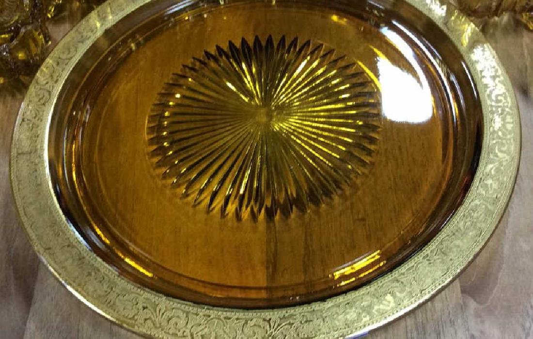 Vintage Cut Amber Glass Tabletop Collection Vintage - 3