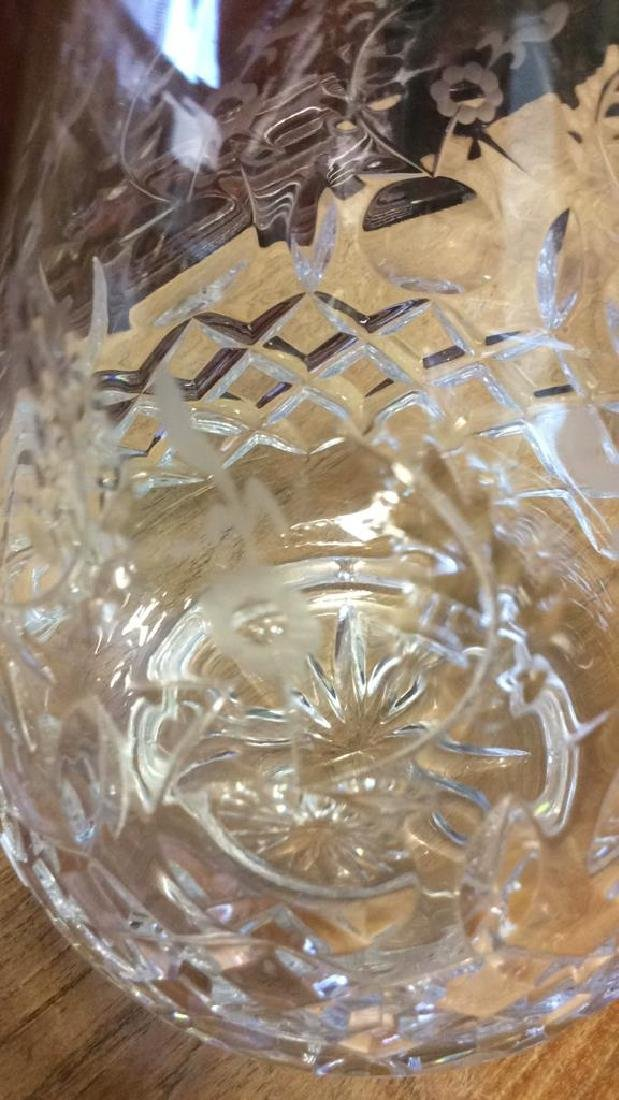 Vintage Etched and Cut Glass Vase Cut glass vase with - 8