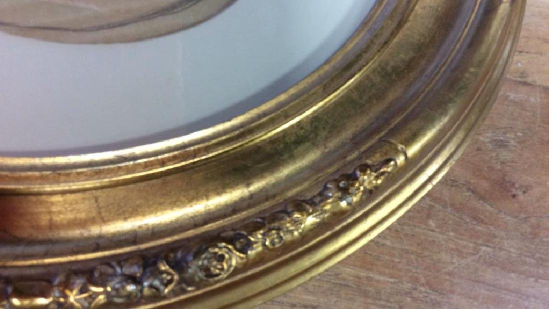 Antique Gold Leafed Oval Frame Carved wood frame with - 5