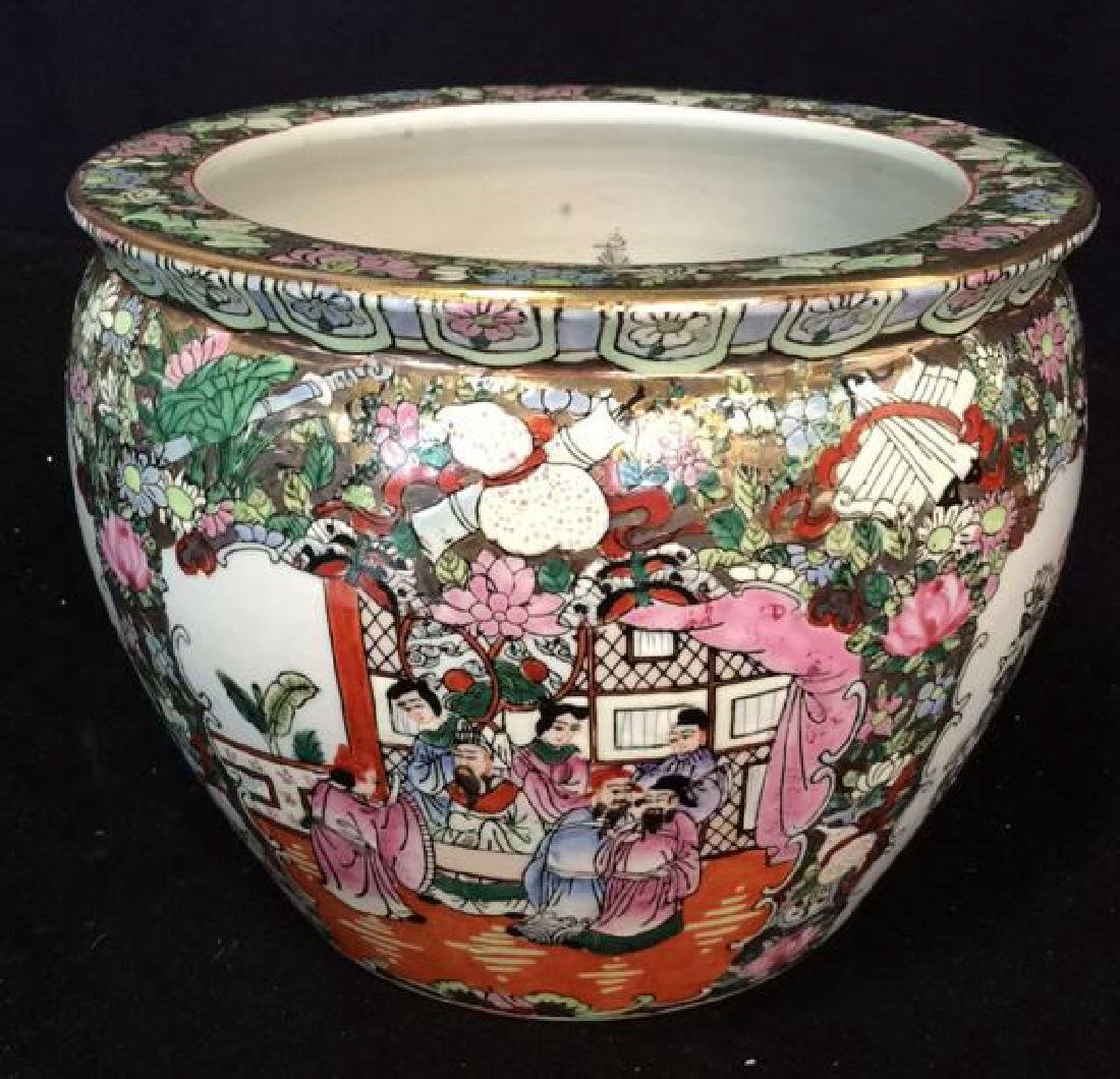 Painted Asian Planter Cachpot Painted Planter with