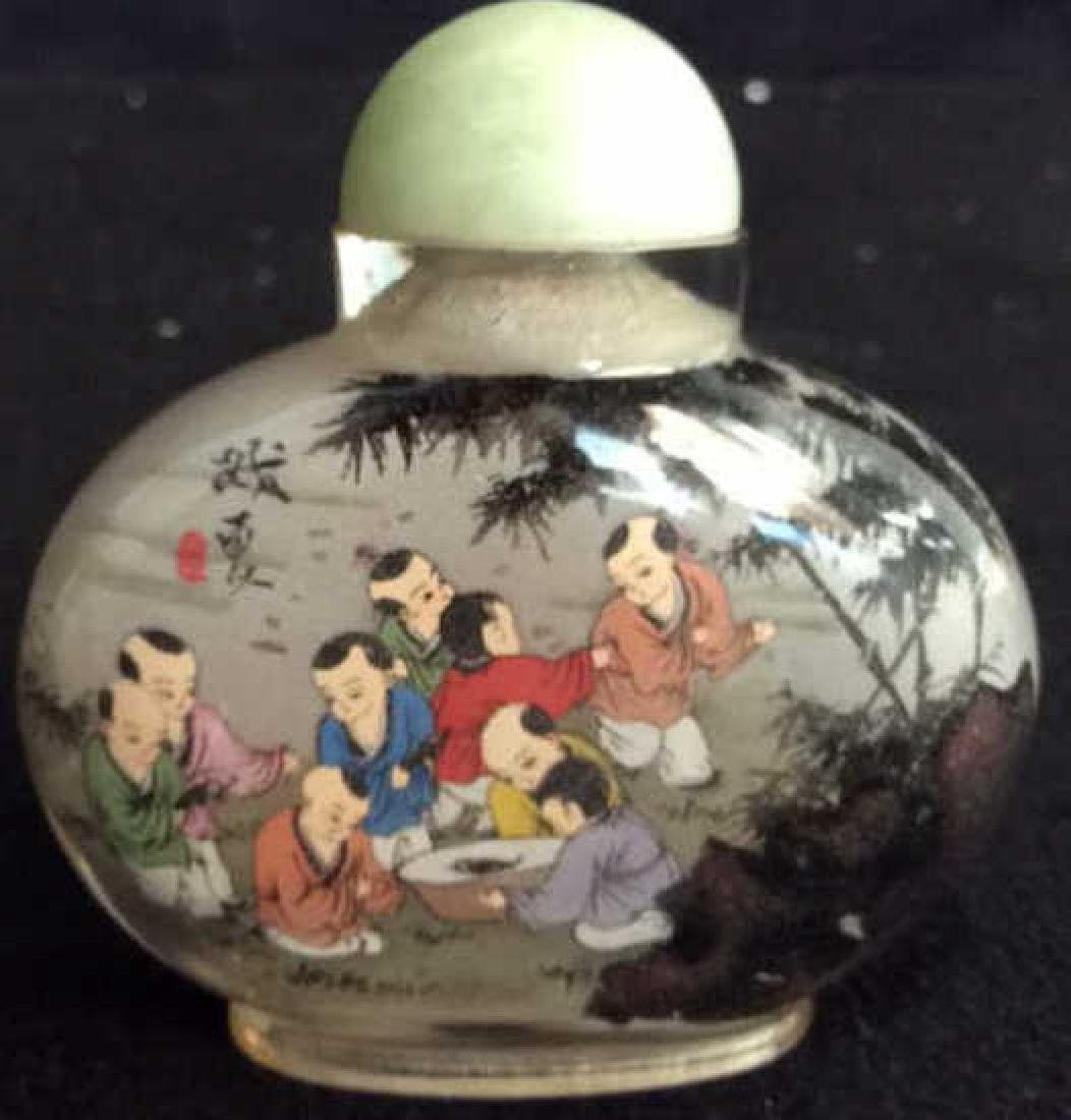 Hand Painted Asian Bottle Jade Top Hand painted