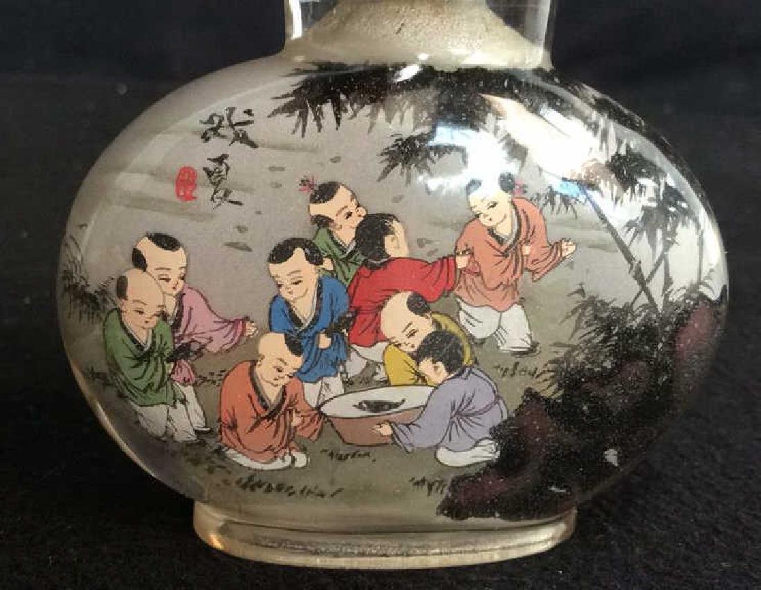 Hand Painted Asian Bottle Jade Top Hand painted - 2
