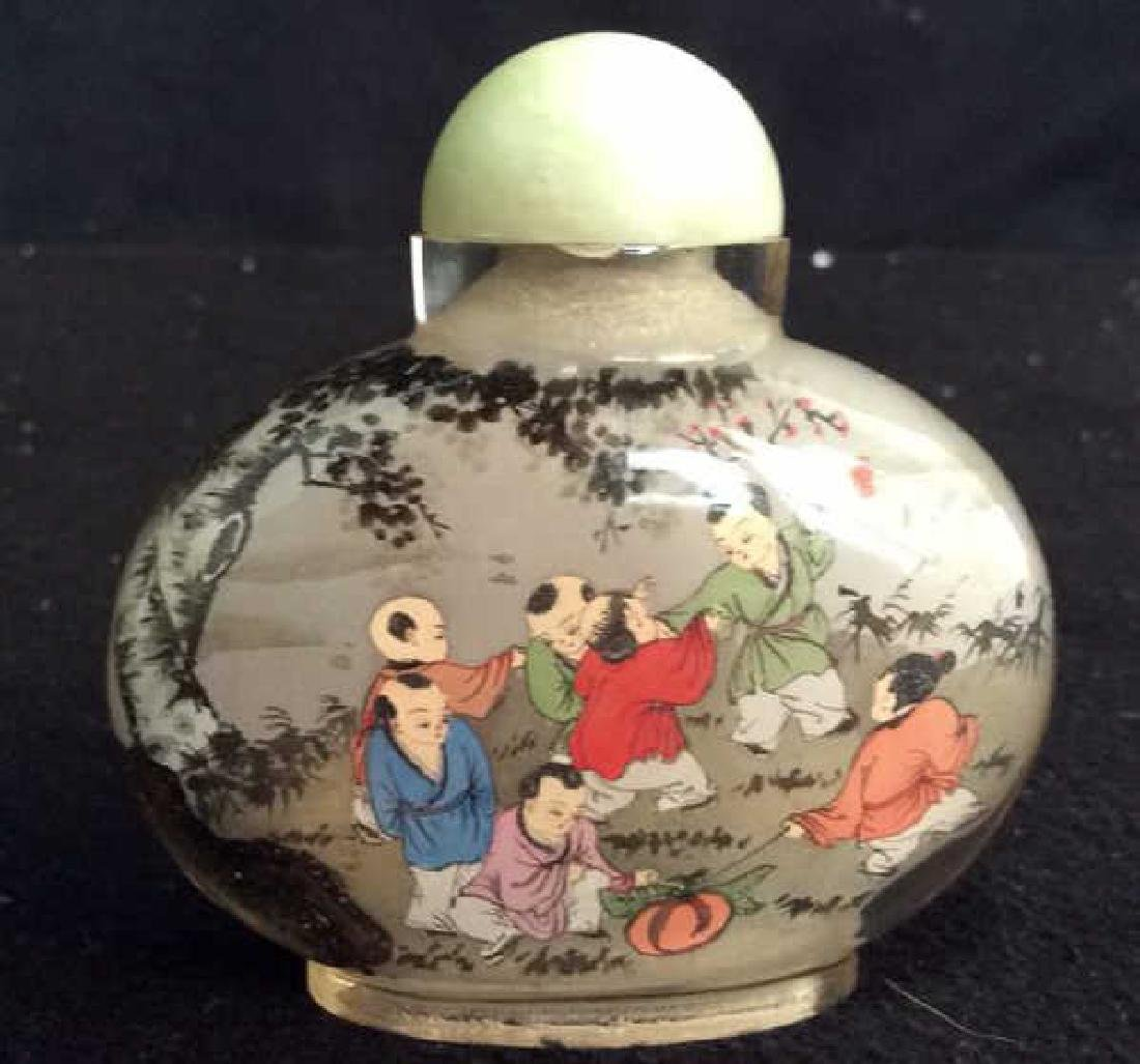 Hand Painted Asian Bottle Jade Top Hand painted - 4
