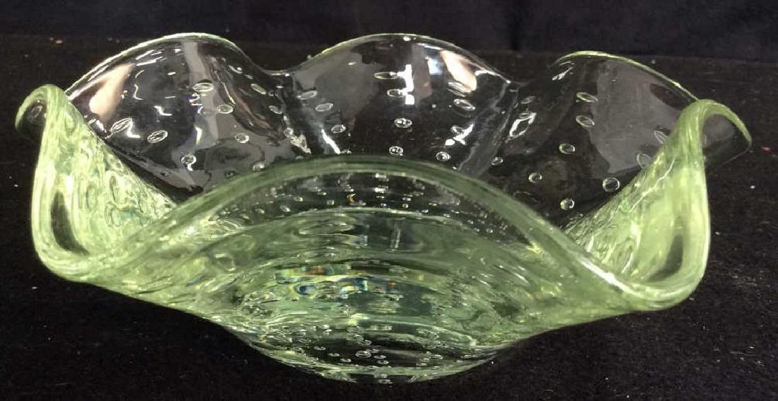 Hand Blown Green Art Glass Bowl Green bubble glass