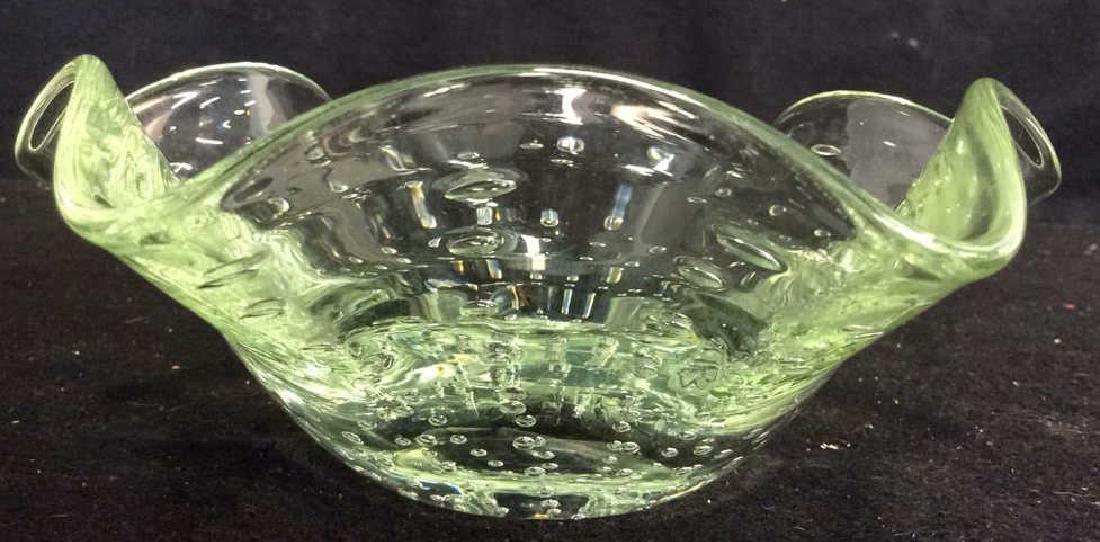 Hand Blown Green Art Glass Bowl Green bubble glass - 4