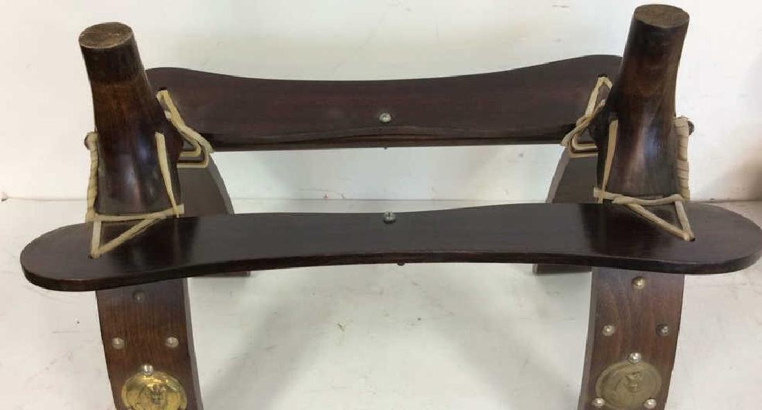 Antique Hand Made Wood and Brass  Bench Hand made hand - 6
