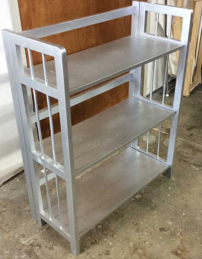 Silver Painted Folding Book Shelf Silver Painted book