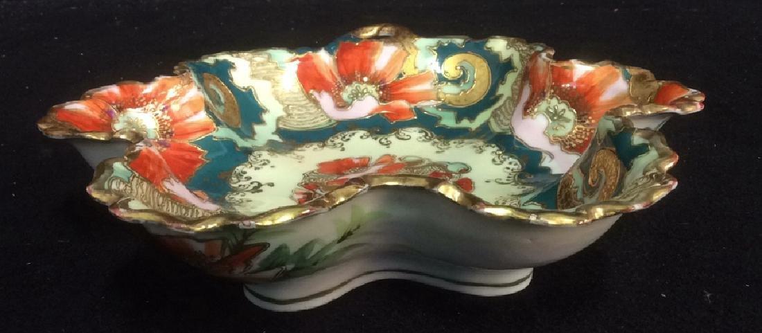 Asian Porcelain Gold Trim Handled Bowl Possibly