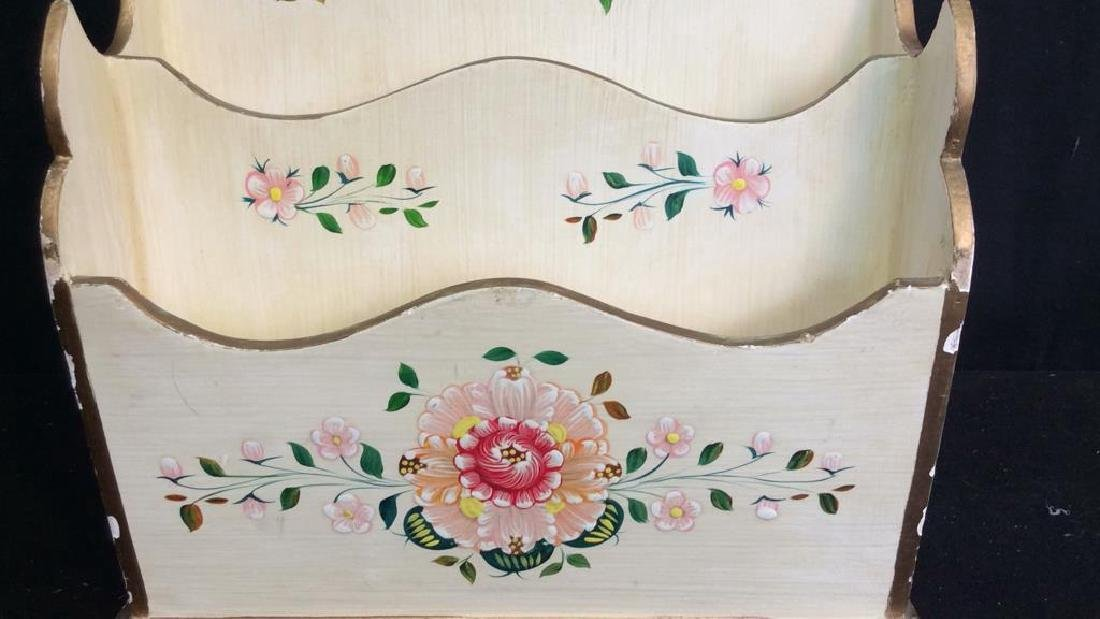 Vintage Peruvian Painted Wood Letter Box Hand painted - 3