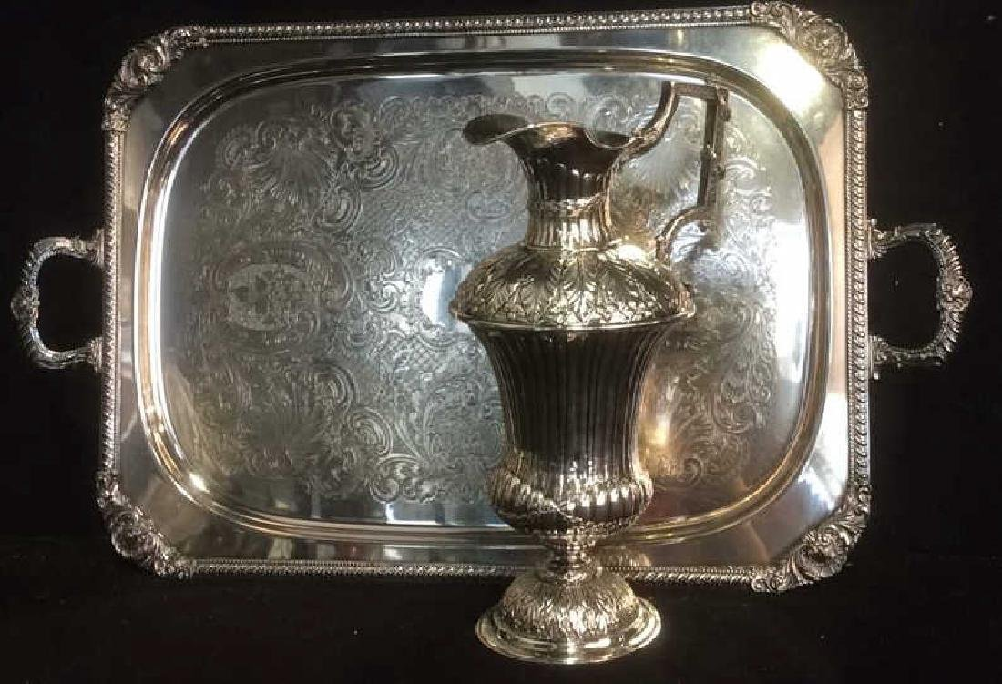 Group Silverplate Footed Tray and Ornate Pitcher Lot of